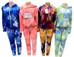 12 Units of Tie Dye workout Jogger Hoody And Pants Sets - Womens Active Wear