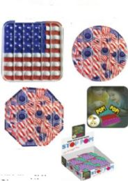 24 Units of Red And White USA Flag Stop Pops - Fidget Spinners