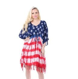 12 Units of Rayon American Flag Dress Kaftan - Womens Sundresses & Fashion