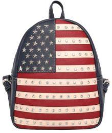 2 Units of Montana West Rhinestone USA Flag Backpack Navy - Backpacks