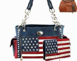 2 Units of Montana West American Flag Collection Concealed Carry Satchel - Tote Bags & Slings