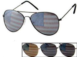 24 Units of USA Flag Assorted Aviator Sunglasses - 4th Of July