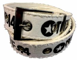 72 Units of White Color One hole Cotton Belt Assorted Size - Mens Belts