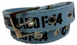 72 Units of Blue Color One Hole Cotton Belt Assorted Size - Mens Belts