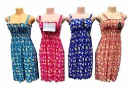 12 Units of Simple Strap Flower Printed Dresses Assorted - Womens Sundresses & Fashion