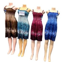 12 Units of Simple Strap Dresses Flower Assorted - Womens Sundresses & Fashion