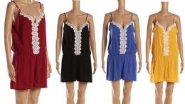 12 Units of Solid Spaghetti Strap Jump Shorts With Lace Center - Womens Sundresses & Fashion