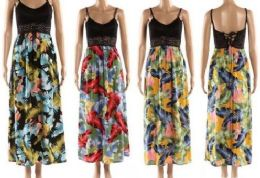12 Units of Crochet Spaghetti Strap Top Feather Floral Dresses - Womens Sundresses & Fashion