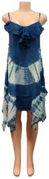 12 Units of Indian Rayon Dress with Ruffle Bottoms Blue Color - Womens Sundresses & Fashion