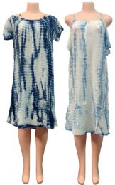 12 Units of Indian Rayon Tie Dye Dress with Short Sleeves - Womens Sundresses & Fashion