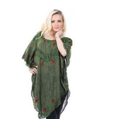 12 Units of Rayon Acid Wash Poncho with Embroidery - Womens Sundresses & Fashion