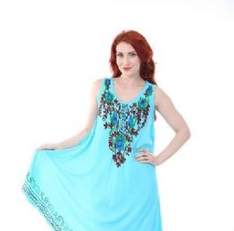 12 Units of Rayon Solid Heavy Multicolor Embroidery Dress - Womens Sundresses & Fashion