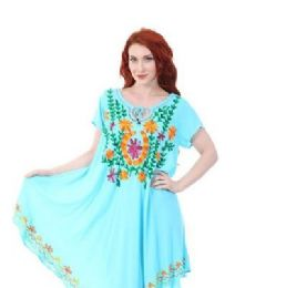 12 Units of Rayon Soild Color Multicolor Embroidery Dress Assorted - Womens Sundresses & Fashion