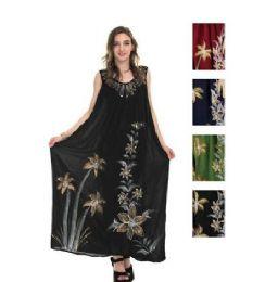 12 Units of Rayon Long Straight Dress Solid Dye Brush Paint - Womens Sundresses & Fashion