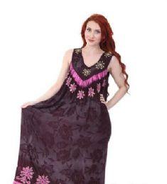 12 Units of Rayon Long Straight Dress Batik Dye Assorted Colors - Womens Sundresses & Fashion