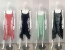 12 Units of Rayon Tie Dye Color Asymmetric Cut Dress - Womens Sundresses & Fashion