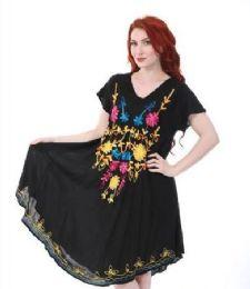 12 Units of Black Rayon Dress Assorted Patterns - Womens Sundresses & Fashion