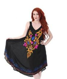 12 Units of Rayon Black U Tank Dress Assorted Pattern - Womens Sundresses & Fashion