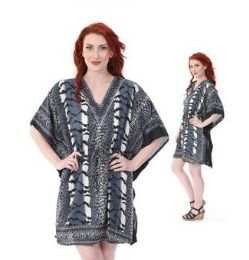 12 Units of Short Vertical Stripe Printed With Draw String Kaftan - Womens Sundresses & Fashion