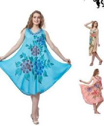 12 Units of Rayon Solid Color Dress with Brush Painted Design - Womens Sundresses & Fashion