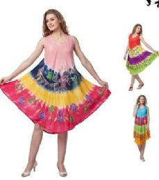 12 Units of Rayon Tie Dye Color Brush Painted Designs - Womens Sundresses & Fashion