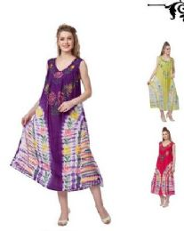 12 Units of Tie Dye Rayon Straight Gown Plus Sizegns - Womens Sundresses & Fashion