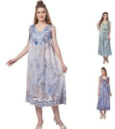 12 Units of Sea Dye Rayon Straight Gown Plus Size - Womens Sundresses & Fashion