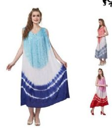 12 Units of Tie Dye Rayon Straight Gown Plus Size - Womens Sundresses & Fashion