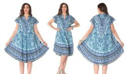 12 Units of Rayon Printed Dress with Placket 1 Color - Womens Sundresses & Fashion