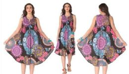 12 Units of Rayon Printed Dress with Zipper 1 Color - Womens Sundresses & Fashion