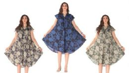 12 Units of Rayon Printed Dress With Placket Assorted Colors - Womens Sundresses & Fashion