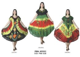 12 Units of Rayon Short Sleeve Tie Dye Dress Assorted Rasta Colors - Womens Sundresses & Fashion