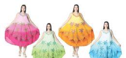 12 Units of Rayon Crape Dress Tie Dye Brush Paint Assorted Colors - Womens Sundresses & Fashion