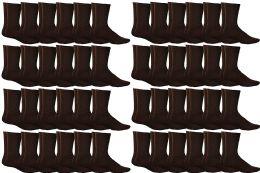 60 Units of Yacht & Smith Women's Sports Crew Socks, Size 9-11, Brown - Womens Crew Sock
