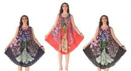 12 Units of Rayon Peacock Printed Dress With Round Neck - Womens Sundresses & Fashion