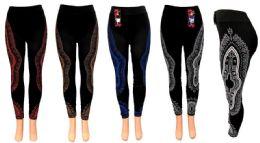 12 Units of Graphic On The Side Leggings - Womens Leggings