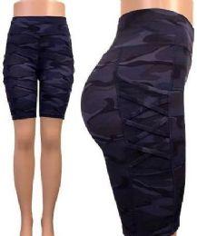 24 Units of Blue Camo Biker Shorts Capris Tik Tok Big Butts legging - Womens Leggings