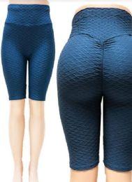 24 Units of Tik tok Big Butts Capris Leggings in Blue - Womens Leggings