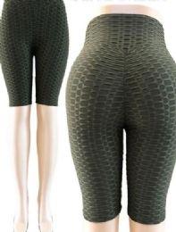 24 Units of Tik Tok Big Butts Capris Legging in Olive Green - Womens Leggings