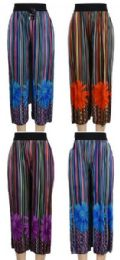 24 Units of Multicolor Verticle Stripe with Flower Summer Pants - Womens Pants