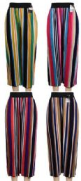 24 Units of Multicolor Verticle Stripe Summer Pants Assorted Colors - Womens Pants