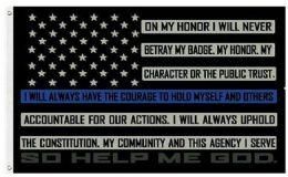 24 Units of Blue Line Oath of Honor Flag - Flag