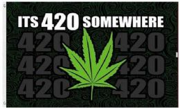 24 Units of Its 420 somewhere Marijuana Leaf Graphic Flags - Flag