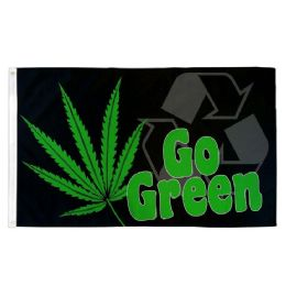 4824 Units of GO GREEN Cannabis Recycle Flag - Signs & Flags