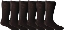6 Units of Yacht & Smith Men's King Size Loose Fit Non-Binding Cotton Diabetic Crew Socks (Brown King Size 13-16) - Big And Tall Mens Diabetic Socks