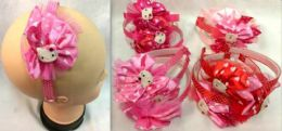 96 Units of Lace With Polka dot Kitty Head Band - Headbands