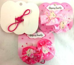 96 Units of Kitty Hair Band Lace With Polkadot - PonyTail Holders