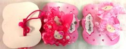 96 Units of Kitty Hair Band with Lace - PonyTail Holders