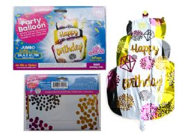 144 Units of Happy Birthday Cake Giant Foil Balloon - Balloons & Balloon Holder