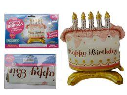 144 Units of Happy Birthday Cake Balloon W/ Stand - Balloons & Balloon Holder